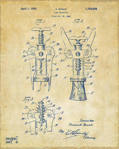Wall Art - Digital Art - 1928 Cork Extractor Patent Artwork - Vintage by Nikki Marie Smith