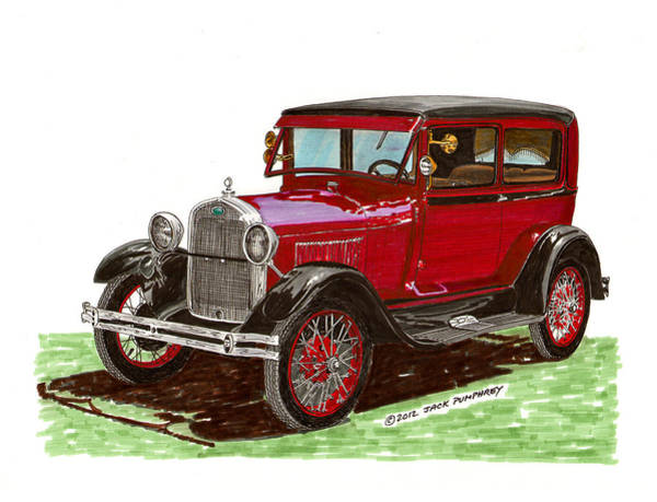 Classic Car Drawings Painting - 1928 Ford Model A Two Door by Jack Pumphrey