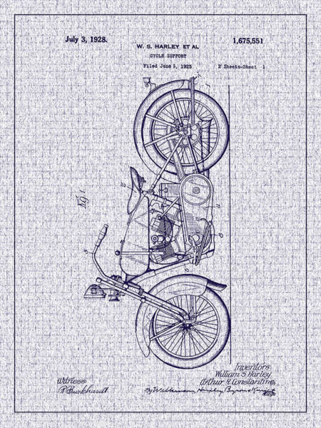 Photograph - 1928 Harley Cycle Support Patent by Barry Jones