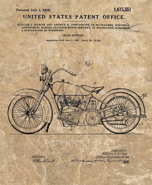 Drawing - 1928 Harley Davidson Motorcyle Patent Illustration by Dan Sproul