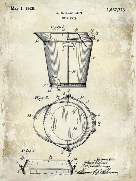 Milk Farm Photograph - 1928 Milk Pail Patent Drawing by Jon Neidert