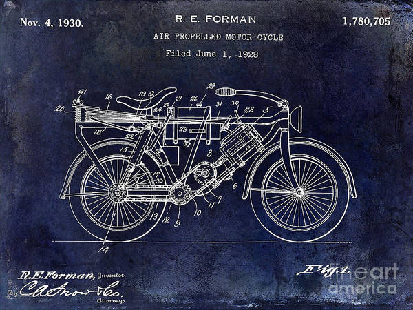 Victory Motorcycle Photograph - 1928 Motorcycle Patent Drawing Blue by Jon Neidert