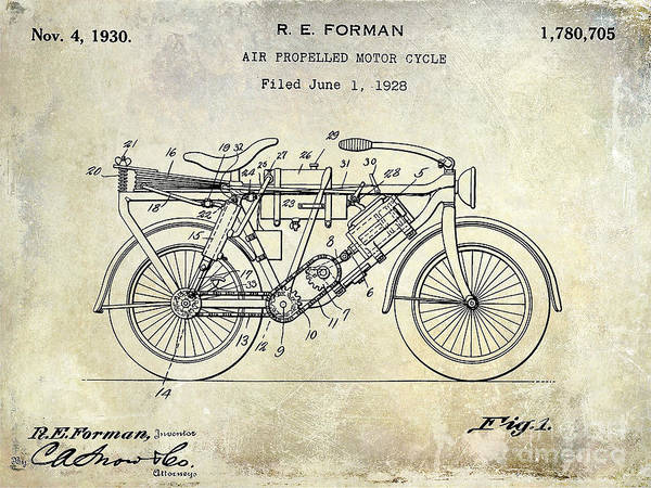 Victory Motorcycle Photograph - 1928 Motorcycle Patent Drawing by Jon Neidert