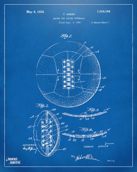 Schematic Wall Art - Digital Art - 1928 Soccer Ball Lacing Patent Artwork - Blueprint by Nikki Marie Smith