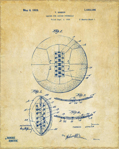 Wall Art - Digital Art - 1928 Soccer Ball Lacing Patent Artwork - Vintage by Nikki Marie Smith