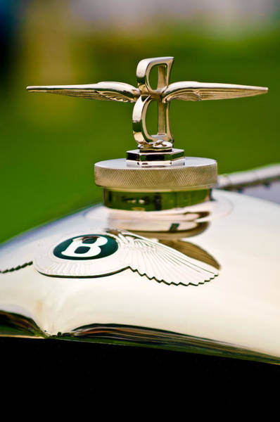 Auto Show Photograph - 1929 Bentley Speed Six Gurney Nutting Fixed Head Coupe Hood Ornament by Jill Reger