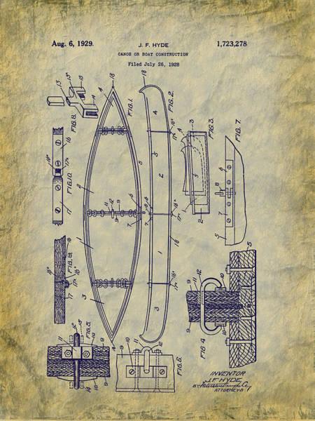 Digital Art - 1929 Canoe Construction Patent Art by Barry Jones