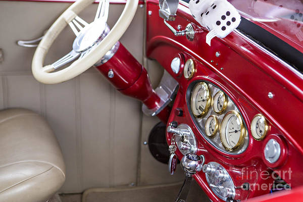 Photograph - 1929 Chevrolet Classic Car Automobile Dashboard Color Red  3130. by M K Miller