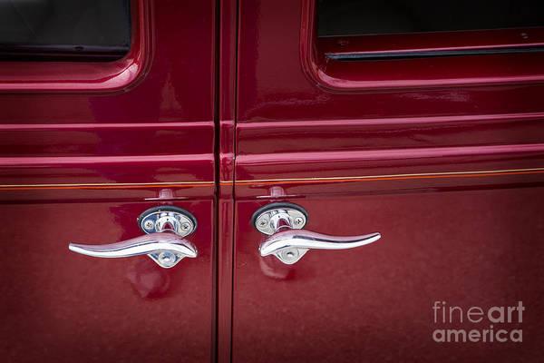 Photograph - 1929 Chevrolet Classic Car Automobile Door Handles Color Red  31 by M K Miller