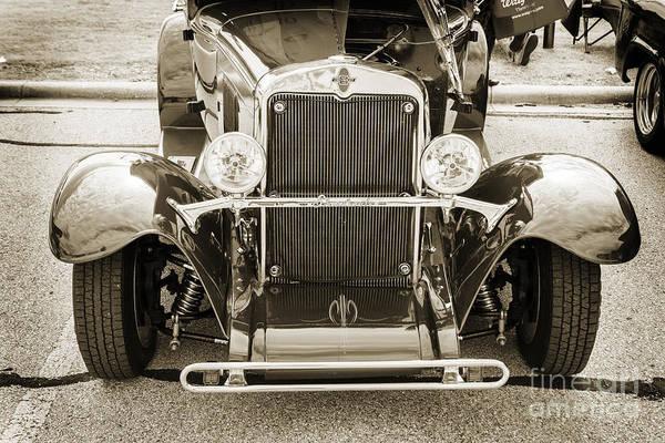 Photograph - 1929 Chevrolet Classic Car Automobile Front End Sepia  3126.01 by M K Miller