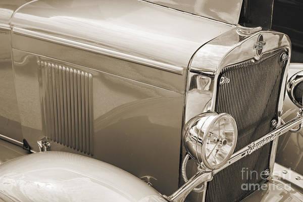Photograph - 1929 Chevrolet Classic Car Automobile Front Fender Sepia  3127.0 by M K Miller