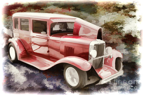 Painting - 1929 Chevrolet Classic Car Painting Automobile In Color  3125.02 by M K Miller