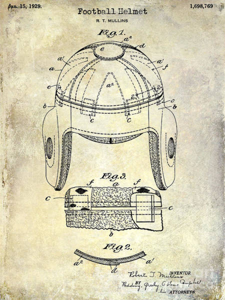 Dallas Cowboys Photograph - 1929 Football Helmet Patent Drawing by Jon Neidert
