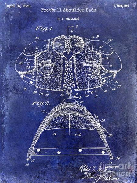 Wall Art - Photograph - 1929 Football Shoulder Pads Patent Drawing Blue by Jon Neidert