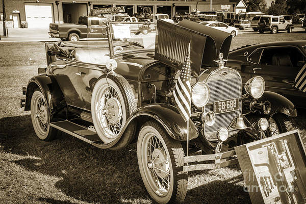 Photograph - 1929 Ford Classic Antique Automobile Car In Sepia  3053.01 by M K Miller