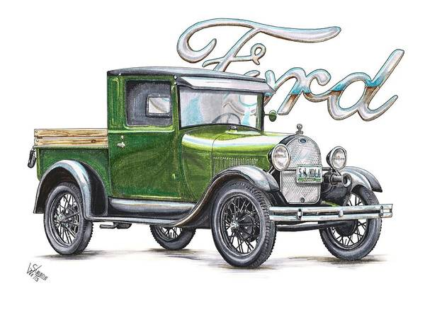 Ford Drawing - 1929 Model A Ford Truck by Shannon Watts