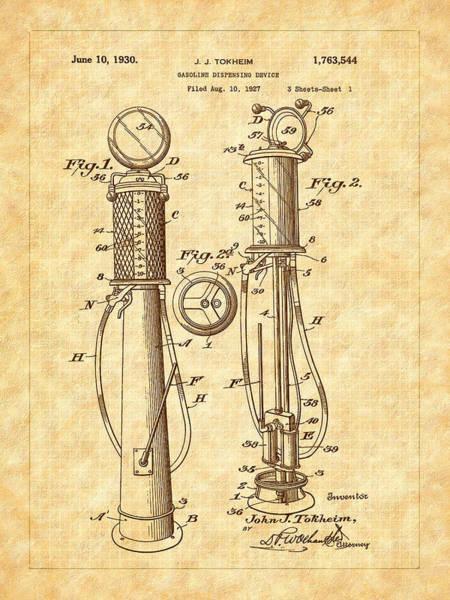 Digital Art - 1930 Classic Gas Pump Patent - Automotive - Historical by Barry Jones