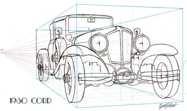 Automobile Drawing - 1930 Cord by Harry West