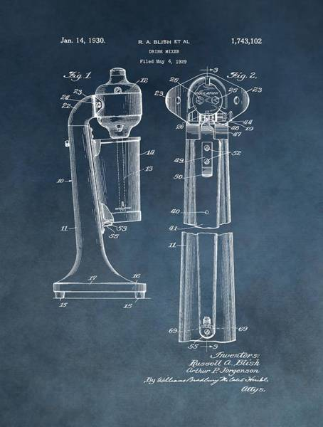Drunk Mixed Media - 1930 Drink Mixer Patent Blue by Dan Sproul