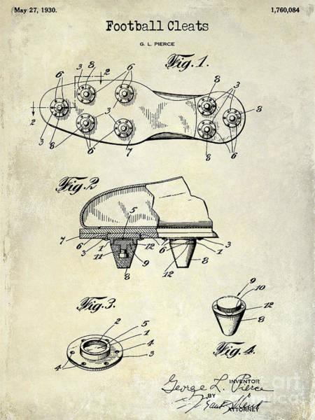 Dallas Cowboys Photograph - 1930 Football Cleats Patent Drawing by Jon Neidert