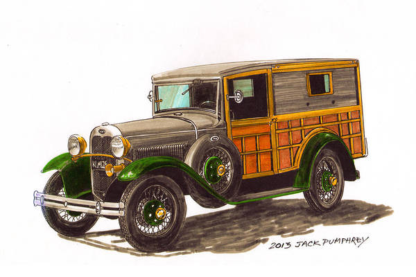 Classic Car Drawings Painting - 1930 Ford Model A Woody by Jack Pumphrey