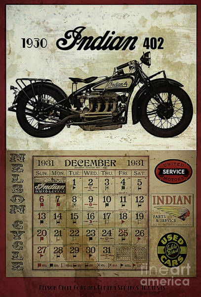 Wall Art - Digital Art - 1930 Indian 402 by Cinema Photography