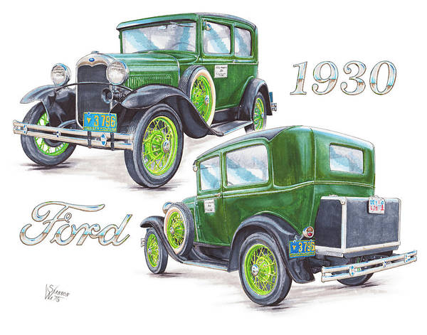 Ford Drawing - 1930 Model A Ford Sedan by Shannon Watts