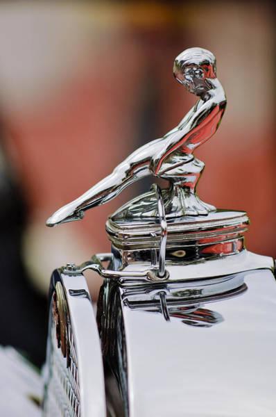 Auto Show Photograph - 1930 Packard 734 Speedster Boattail Runabout Hood Ornament by Jill Reger