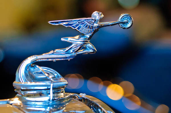 Auto Show Photograph - 1930 Packard Model 733 Convertible Coupe Hood Ornament by Jill Reger
