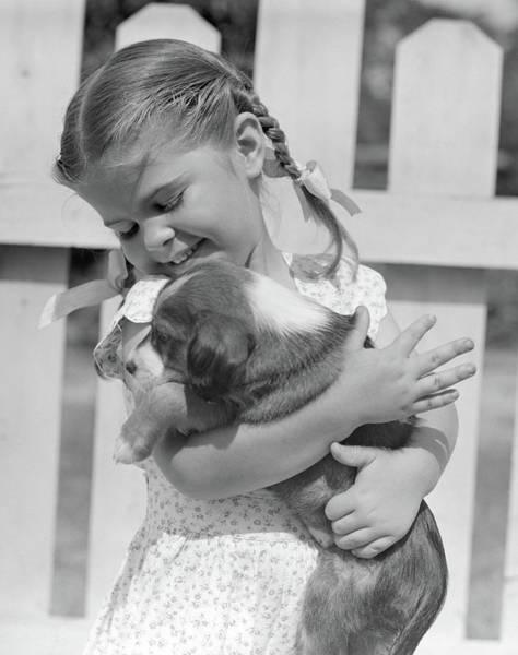 Springer Spaniel Photograph - 1930s 1940s 1950s Little Girl by Animal Images