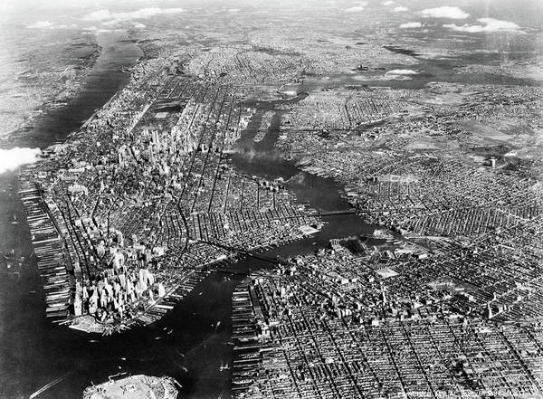 Wall Art - Photograph - 1930s 1940s Aerial View New York City by Vintage Images