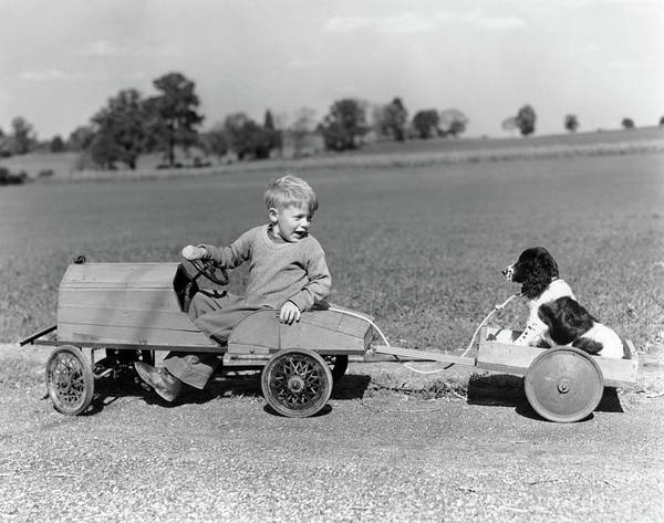 Wall Art - Photograph - 1930s 1940s Boy In Wooden Toy Car by Vintage Images