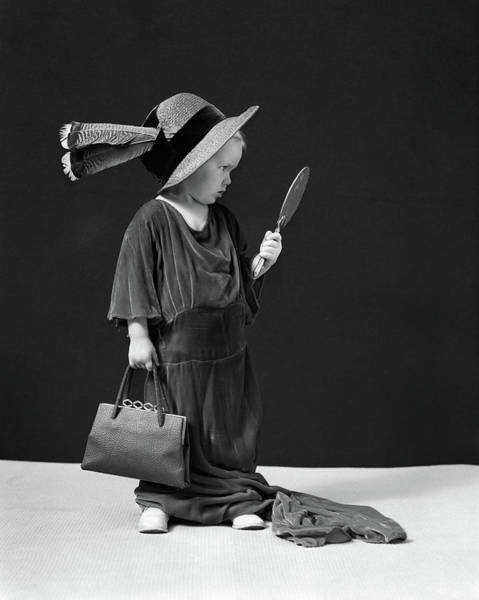 Dressing Photograph - 1930s 1940s Girl Playing Dress-up by Vintage Images
