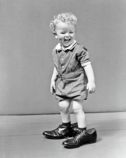 Big Boy Photograph - 1930s 1940s Laughung Curly Blond Headed by Vintage Images