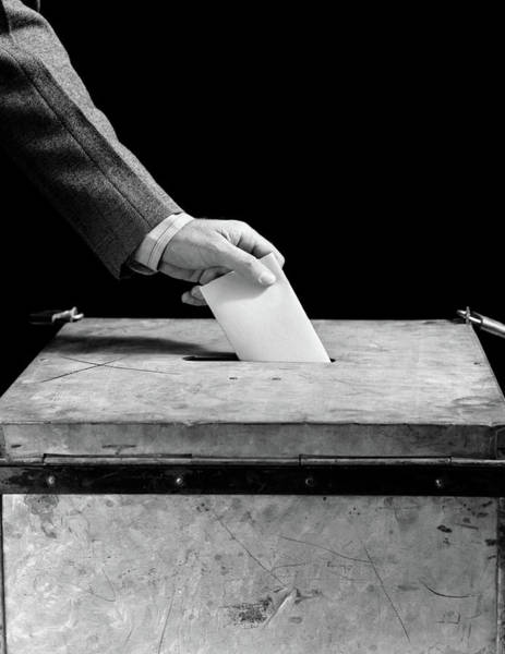 Suggestion Photograph - 1930s 1940s Mans Hand Putting Ballot by Vintage Images
