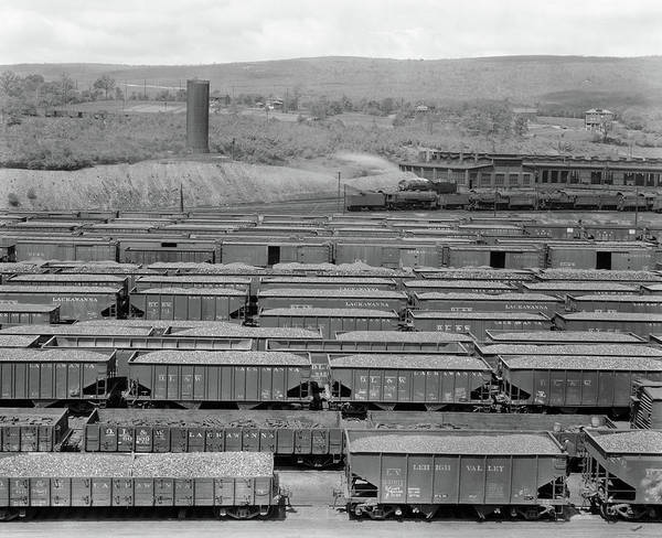 Box Car Photograph - 1930s 1940s Railroad Yard With Engine by Vintage Images