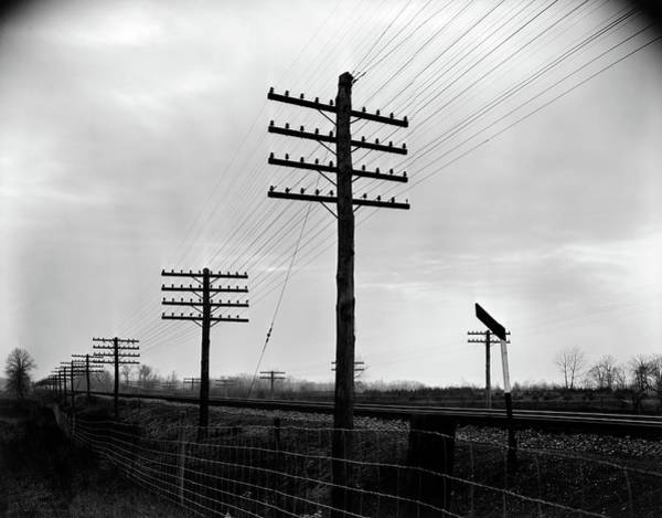 Utility Pole Photograph - 1930s 1940s Telegraph And Telephone by Vintage Images