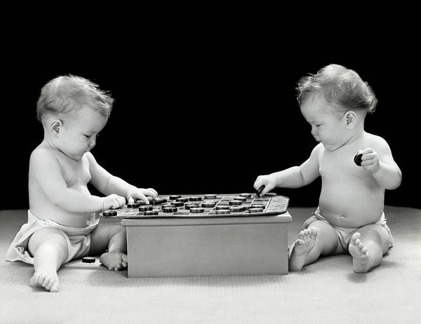 Similar Photograph - 1930s 1940s Twin Babies Playing Game by Vintage Images