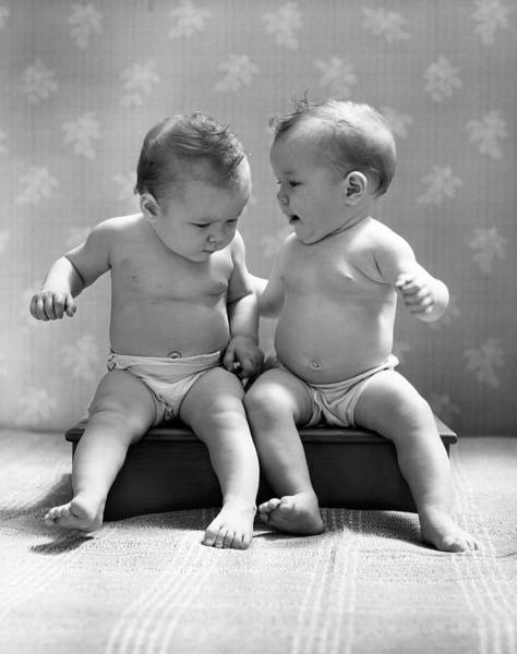 Similar Photograph - 1930s 1940s Twin Babies Wearing Diapers by Vintage Images