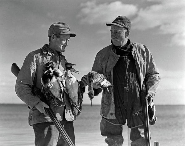 Duck Hunt Photograph - 1930s 1940s Two Men Duck Hunters by Animal Images
