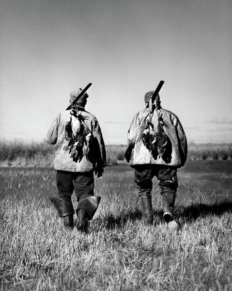 Duck Hunt Photograph - 1930s 940s Two Men Successful Hunters by Animal Images