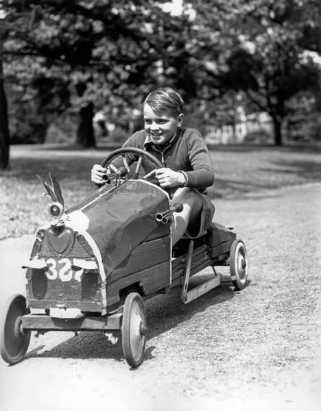 Box Car Photograph - 1930s Boy Driving Home Built Race Car by Vintage Images