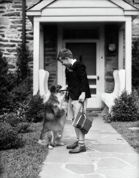 Saying Photograph - 1930s Boy On Sidewalk Leaving by Animal Images