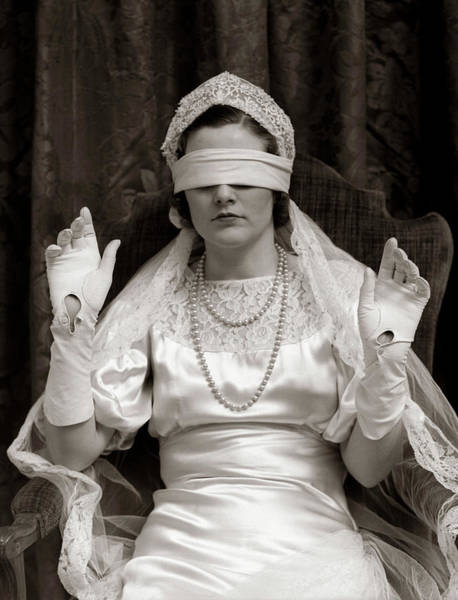 Hands Of Time Photograph - 1930s Bride Wearing Blindfold by Vintage Images