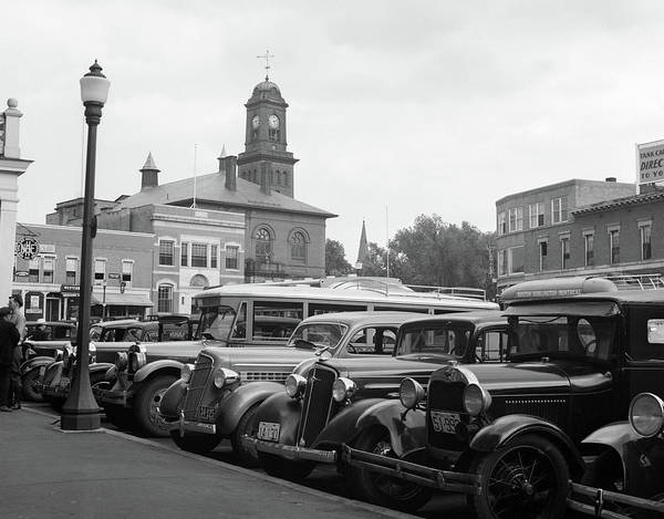 Motoring Photograph - 1930s Buses Cars Parked Small Town by Vintage Images