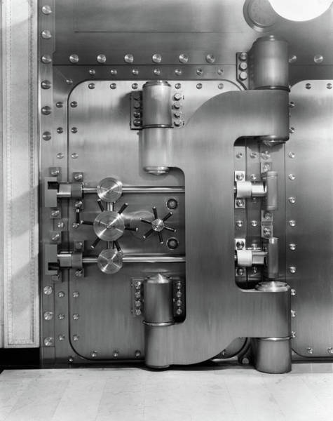 Security Service Photograph - 1930s Closed Bank Vault Door by Vintage Images