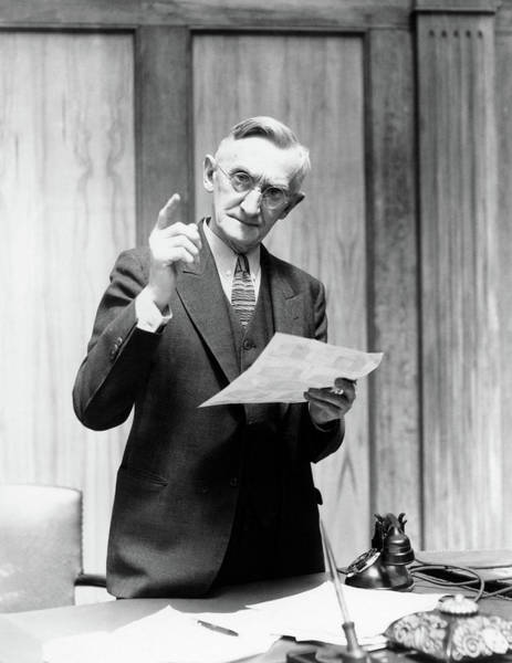 Endorsement Photograph - 1930s Elderly Man In Office Standing by Vintage Images