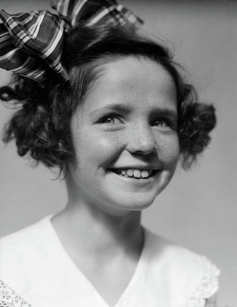 Black Buck Photograph - 1930s Freckle Faced Smiling Girl by Vintage Images