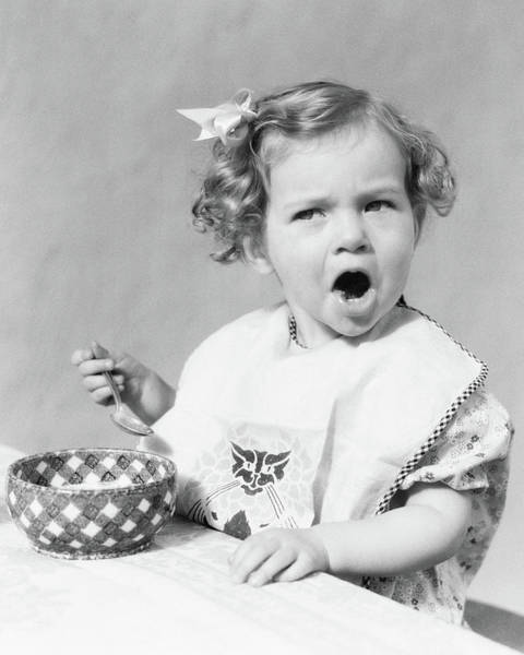 Difficult Photograph - 1930s Girl Eating In Highchair Making by Vintage Images