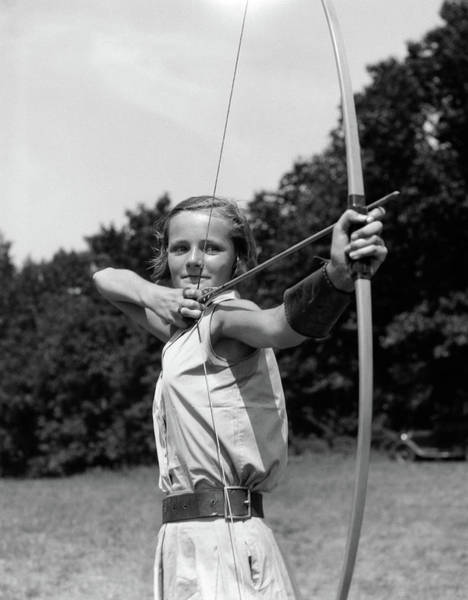 Archery Photograph - 1930s Girl Wearing A Camp Jumper by Vintage Images